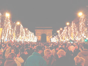 New Year's Eve celebration and Chrismas lights on the Champs-Élysées.