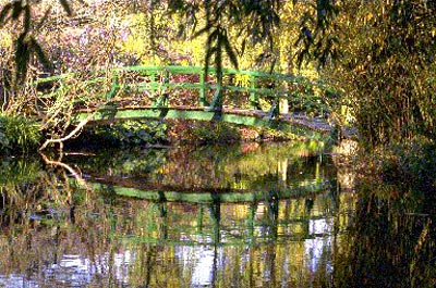 The Japanese bridge over the waterlillies pond in Claude Monet's Garden, behind his house in Giverny.