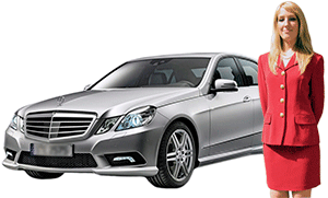 A Mercedes Sedan, one of the luxurious, chauffeur-driven vehicules that take you around Paris and the French countryside to see the sights