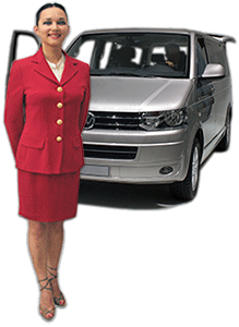 A Volkswagen Multivan, one of the luxurious, chauffeur-driven vehicules that take you around Paris to see the sights