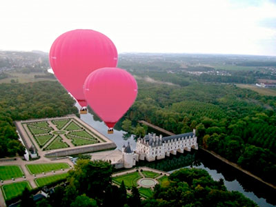 A hot-air balloon ride over Château de Chenonceaux. Chenonceau is remarkable for its architecture, history and for the fine quality of its collections: Renaissance furniture, a vast ensemble of 16th and 17th century tapestries and a great number of masterpieces