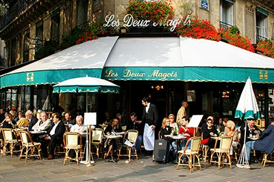 The café Les Deux Magots, one of the famous hangouts for Jean-Paul Sartre, Simone de Beauvoir, and many other well-known writers.