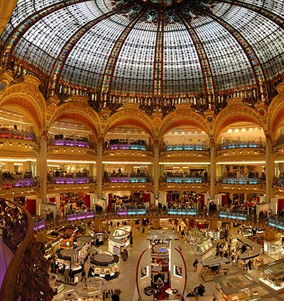 Galeries Lafayette, shopping mecca in Paris, especially during the holidays