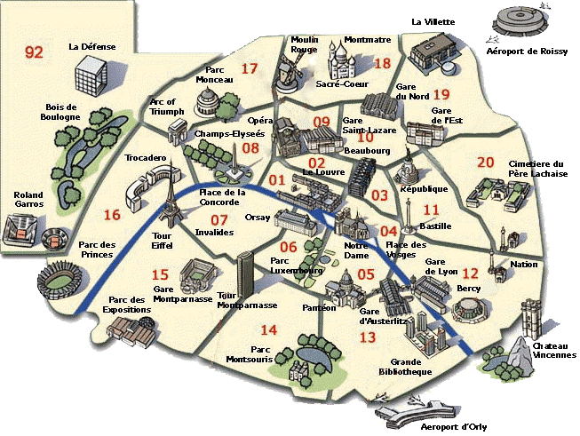 Paris International Guides And Tours Map Of Famous Monuments In - Paris map monuments